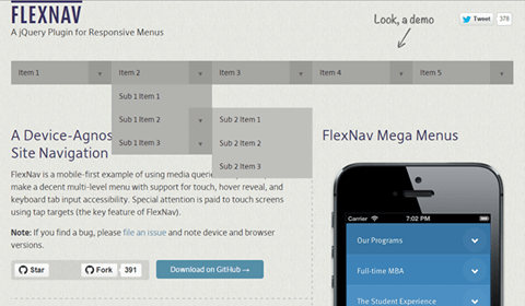FlexNav A jQuery Plugin for Responsive Menus